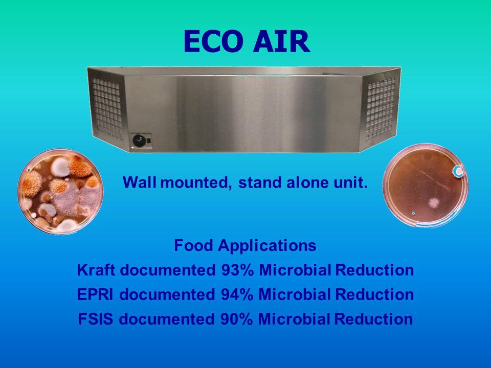 ECO AIR Food Applications Kraft documented 93% Microbial Reduction EPRI documented 94% Microbial Reduction FSIS documented 90% Microbial Reduction Wal