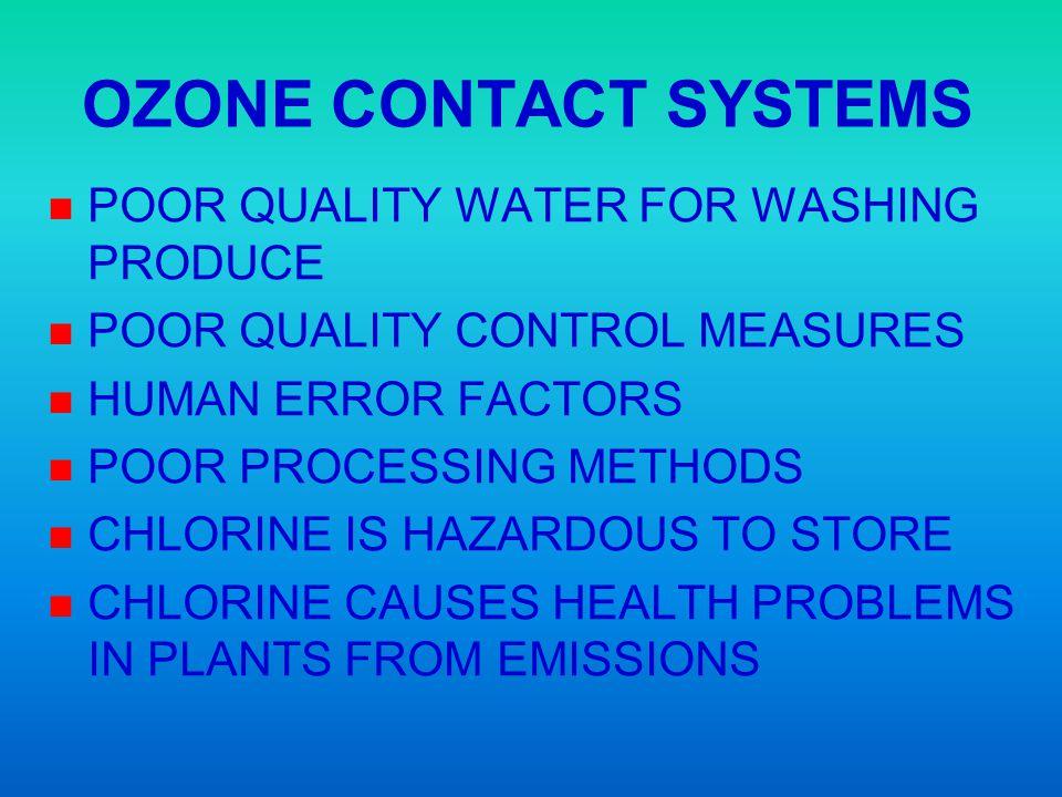 OZONE CONTACT SYSTEMS n n POOR QUALITY WATER FOR WASHING PRODUCE n n POOR QUALITY CONTROL MEASURES n n HUMAN ERROR FACTORS n n POOR PROCESSING METHODS