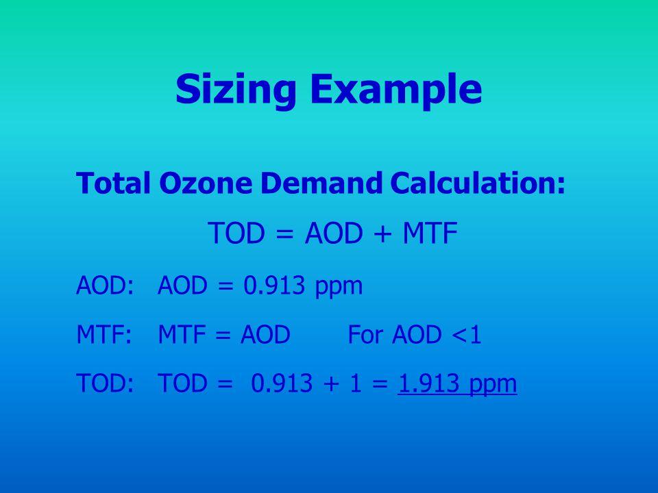 Sizing Example Total Ozone Demand Calculation: TOD = AOD + MTF AOD: AOD = 0.913 ppm MTF: MTF = AOD For AOD <1 TOD: TOD = 0.913 + 1 = 1.913 ppm