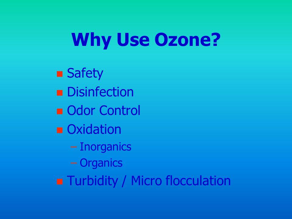 Why Use Ozone? n n Safety n n Disinfection n n Odor Control n n Oxidation – –Inorganics – –Organics n n Turbidity / Micro flocculation