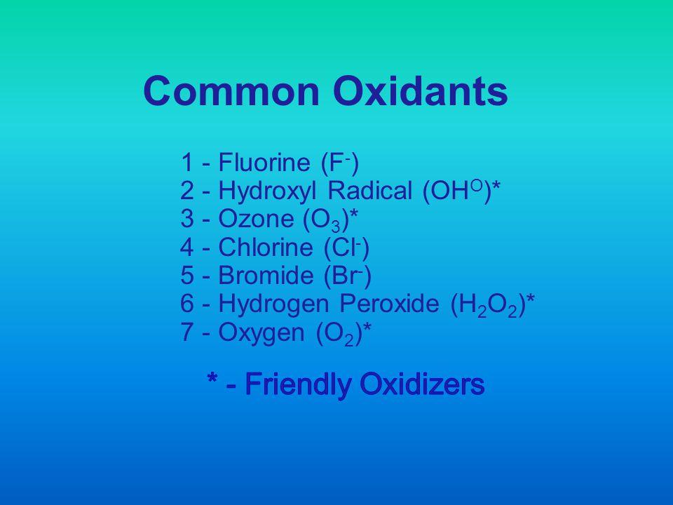 Common Oxidants 1 - Fluorine (F - ) 2 - Hydroxyl Radical (OH O )* 3 - Ozone (O 3 )* 4 - Chlorine (Cl - ) 5 - Bromide (Br - ) 6 - Hydrogen Peroxide (H