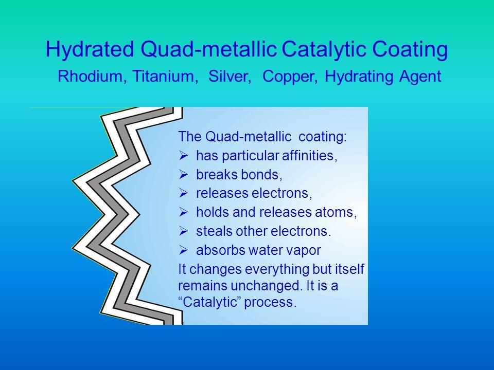 Hydrated Quad-metallic Catalytic Coating Rhodium, Titanium, Silver, Copper, Hydrating Agent The Quad-metallic coating: has particular affinities, brea