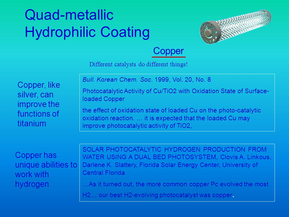 Copper, like silver, can improve the functions of titanium Bull. Korean Chem. Soc. 1999, Vol. 20, No. 8 Photocatalytic Activity of Cu/TiO2 with Oxidat