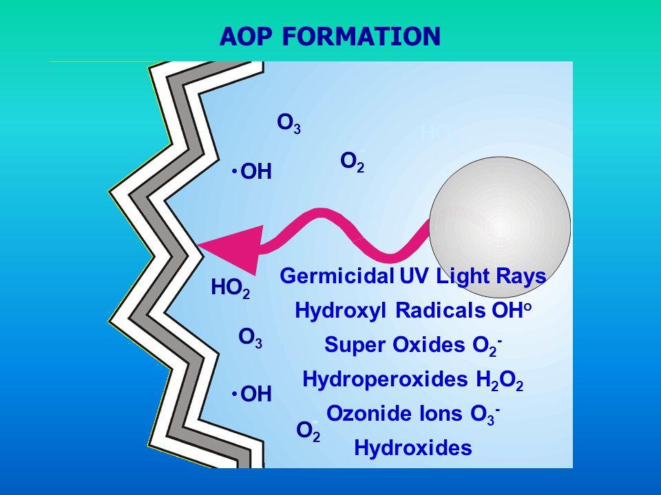 Germicidal UV Light Rays Hydroxyl Radicals OH o Super Oxides O 2 - Hydroperoxides H 2 O 2 Ozonide Ions O 3 - Hydroxides OH O3O3 O3O3 O2O2 HO 2 - O2O2