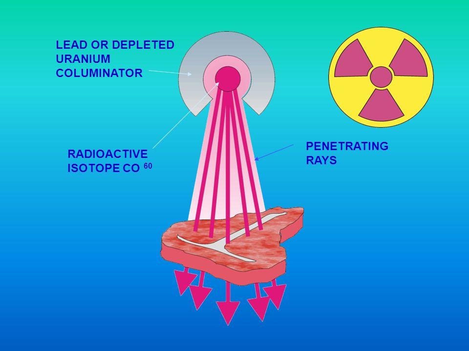 LEAD OR DEPLETED URANIUM COLUMINATOR RADIOACTIVE ISOTOPE CO 60 PENETRATING RAYS