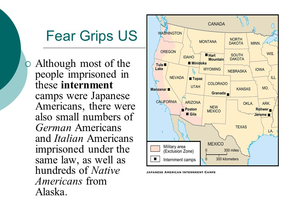 Fear Grips US Although most of the people imprisoned in these internment camps were Japanese Americans, there were also small numbers of German Americ