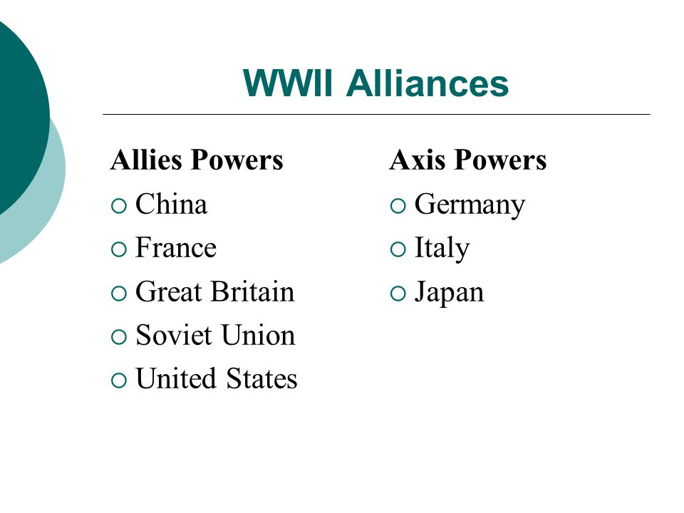 WWII Alliances Allies Powers China France Great Britain Soviet Union United States Axis Powers Germany Italy Japan