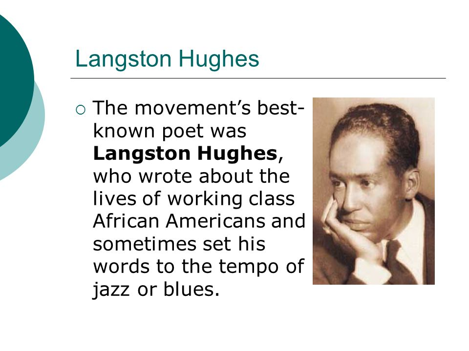 Langston Hughes The movements best- known poet was Langston Hughes, who wrote about the lives of working class African Americans and sometimes set his