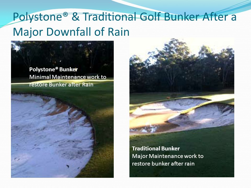 Polystone® & Traditional Golf Bunker After a Major Downfall of Rain Polystone® Bunker Minimal Maintenance work to restore Bunker after Rain Traditional Bunker Major Maintenance work to restore bunker after rain