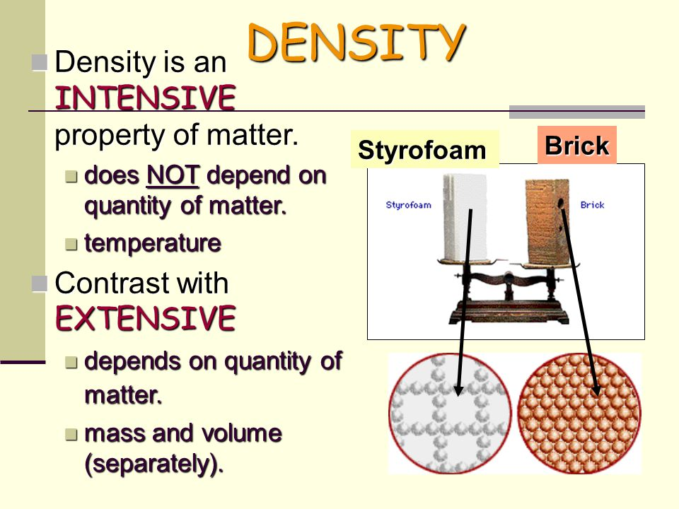 DENSITY Density is an INTENSIVE property of matter.