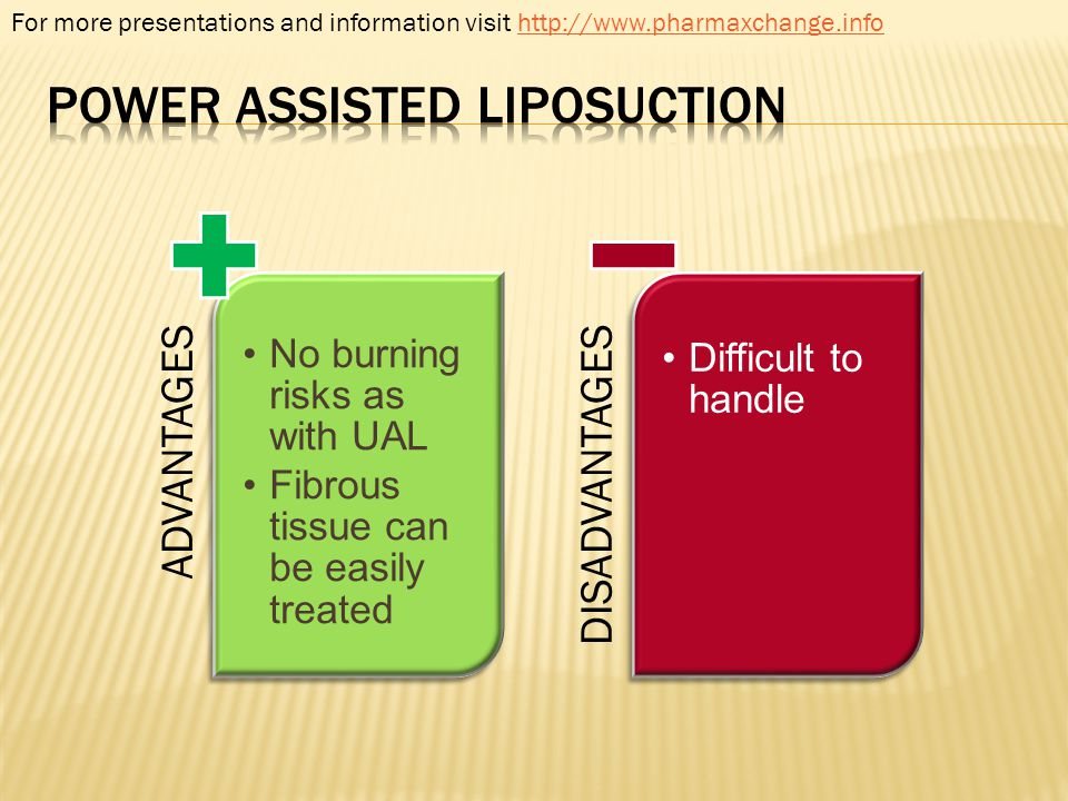 ADVANTAGES No burning risks as with UAL Fibrous tissue can be easily treated DISADVANTAGES Difficult to handle For more presentations and information