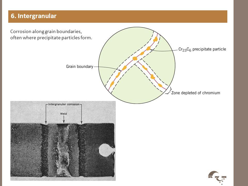6. Intergranular Corrosion along grain boundaries, often where precipitate particles form.