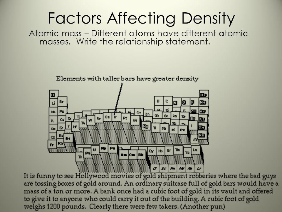 Factors Affecting Density A solid solutes dissolved into liquid solutions – the density change depends on the concentration and kind of substances mix