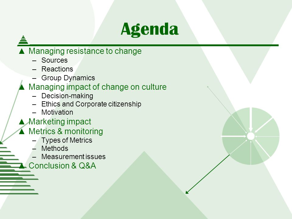 Agenda Managing resistance to change –Sources –Reactions –Group Dynamics Managing impact of change on culture –Decision-making –Ethics and Corporate citizenship –Motivation Marketing impact Metrics & monitoring –Types of Metrics –Methods –Measurement issues Conclusion & Q&A