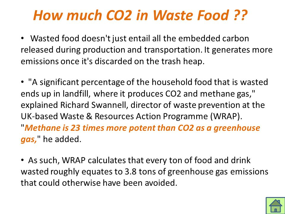 How much CO2 in Waste Food ?? Wasted food doesn't just entail all the embedded carbon released during production and transportation. It generates more
