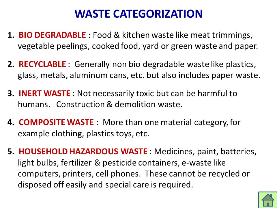 WASTE CATEGORIZATION 1. BIO DEGRADABLE : Food & kitchen waste like meat trimmings, vegetable peelings, cooked food, yard or green waste and paper. 2.
