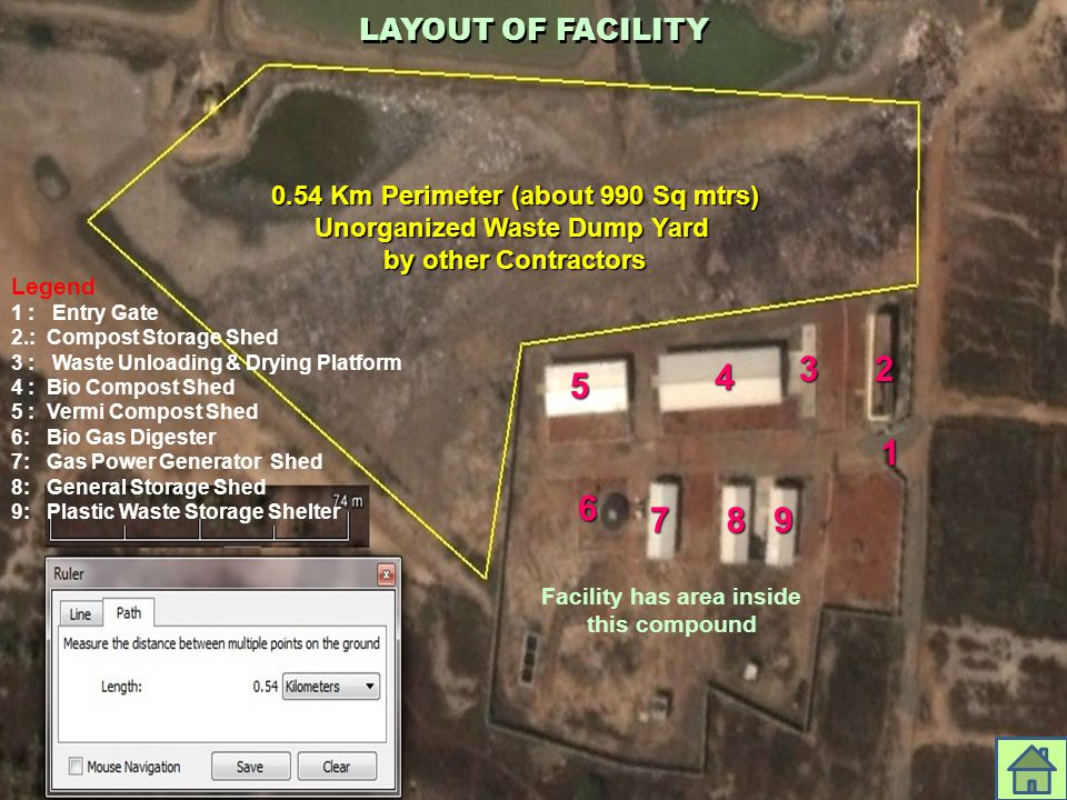 LAYOUT OF FACILITY 0.54 Km Perimeter (about 990 Sq mtrs) Unorganized Waste Dump Yard by other Contractors 4 1 23 5 6 789 Legend 1 : Entry Gate 2.: Com