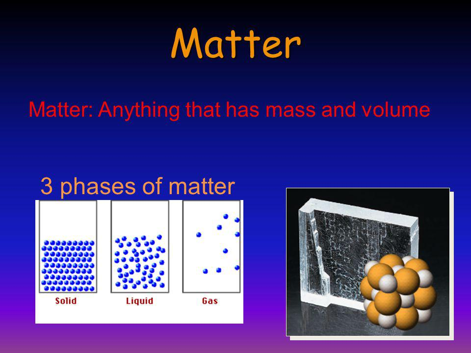 The Nature of Matter Chemists are interested in the nature of matter and how this is related to its atoms and molecules.