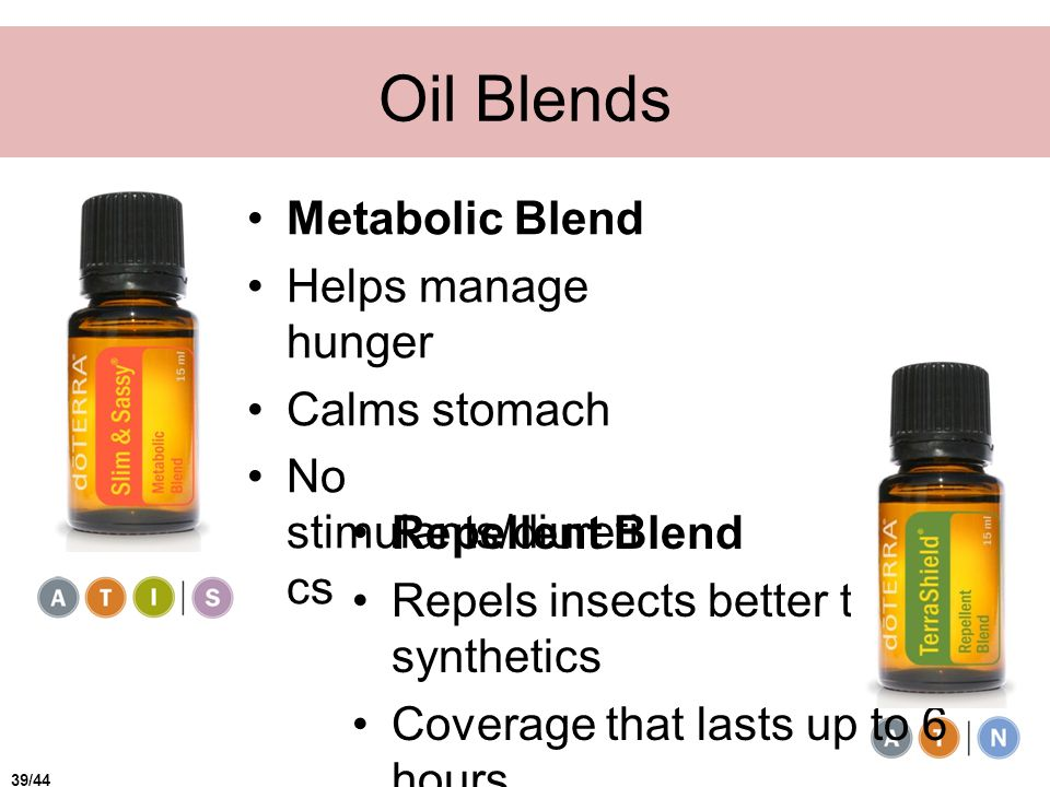 Oil Blends Metabolic Blend Helps manage hunger Calms stomach No stimulants/diureti cs Repellent Blend Repels insects better than synthetics Coverage that lasts up to 6 hours 39/44