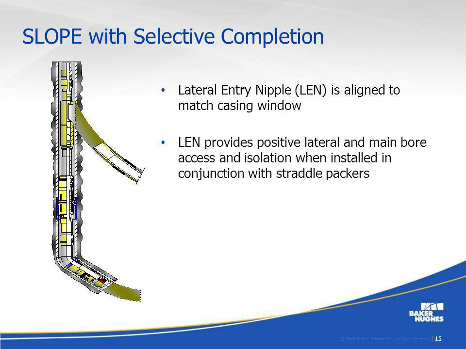 © Baker Hughes Incorporated. All Rights Reserved. | 15 SLOPE with Selective Completion Lateral Entry Nipple (LEN) is aligned to match casing window LE