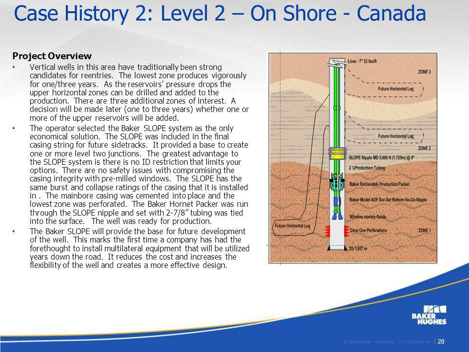© Baker Hughes Incorporated. All Rights Reserved. | 20 Case History 2: Level 2 – On Shore - Canada Project Overview Vertical wells in this area have t