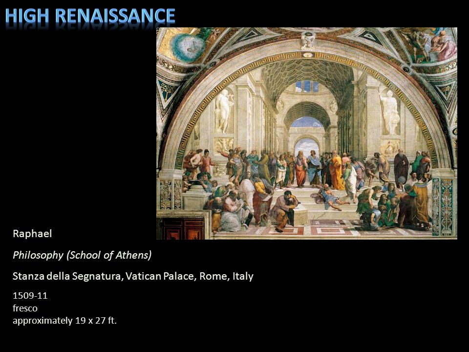 Raphael Philosophy (School of Athens) Stanza della Segnatura, Vatican Palace, Rome, Italy 1509-11 fresco approximately 19 x 27 ft.