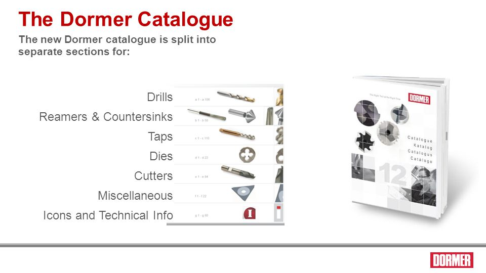 The visual index pages The Dormer Catalogue Dies Thread form Standard Tolerance Pitch Tool material Direction of rotation Surface treatment Tool image (same for several styles) Style code Range Page number for details Icon information for the other applications is as follows: