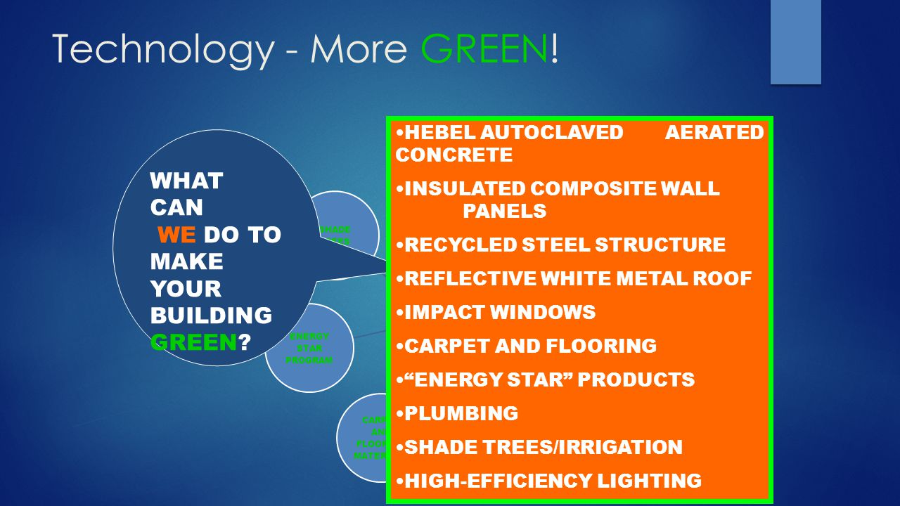 Technology - More GREEN! GREEN BUILDING INSULATION IMPACT WINDOWS GALVANIZED METAL ROOF LOW WATER USE PLUMBING CARPET AND FLOORING MATERIALS ENERGY ST