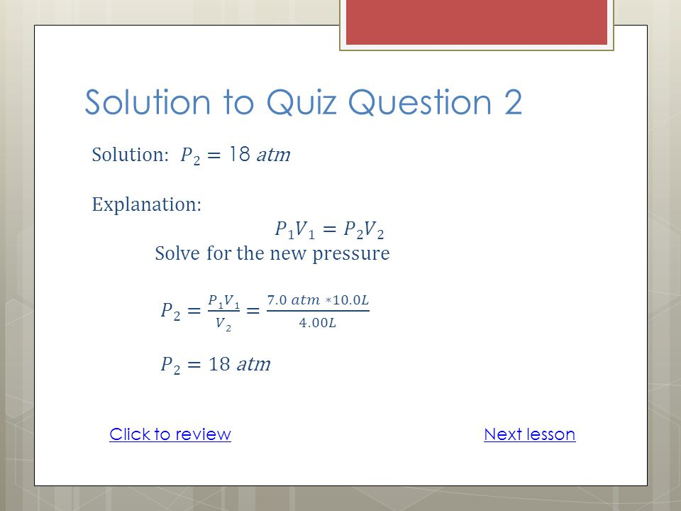 Solution to Quiz Question 2 Next lessonClick to review