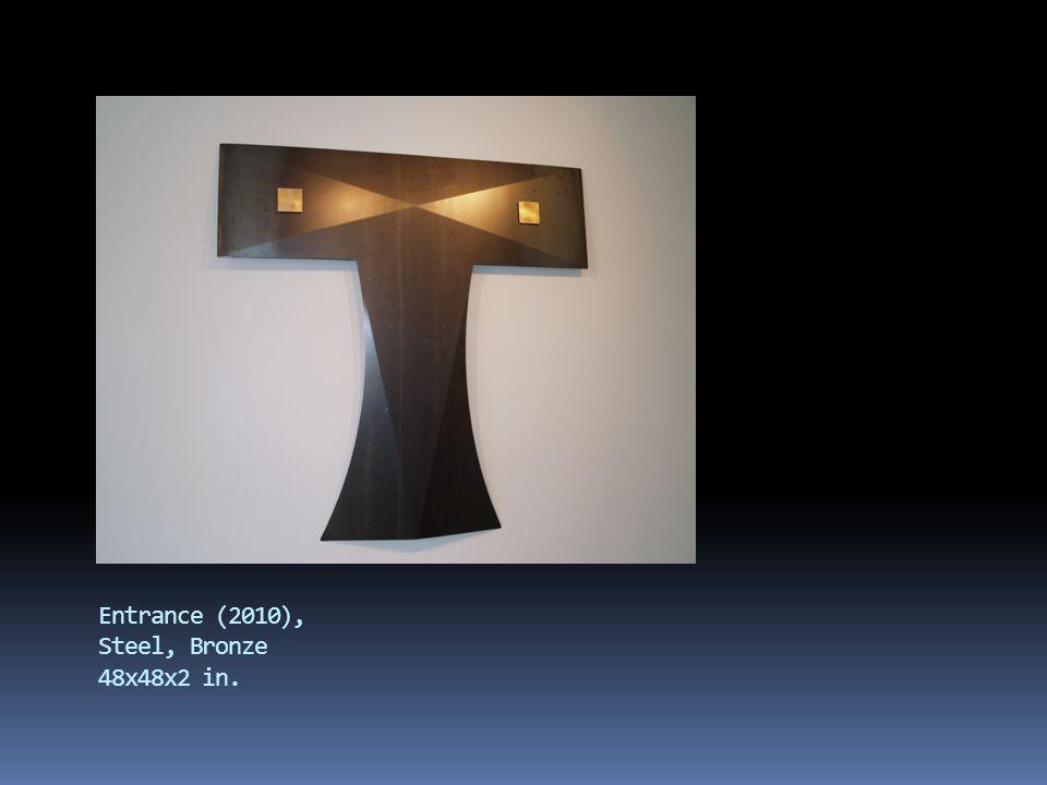 Five (2008), painted steel, wood 15x10x8 in.