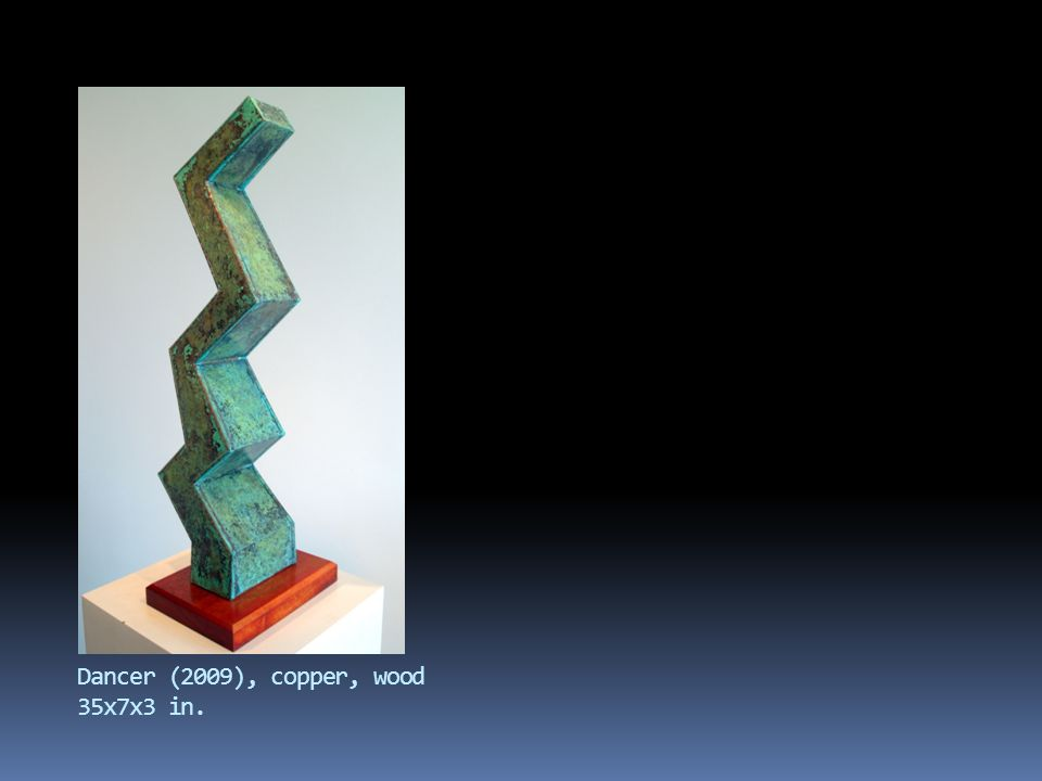 Dancer (2009), copper, wood 35x7x3 in.