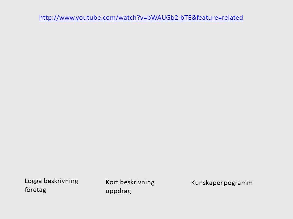 http://www.youtube.com/watch?v=bWAUGb2-bTE&feature=related Logga beskrivning företag Kort beskrivning uppdrag Kunskaper pogramm