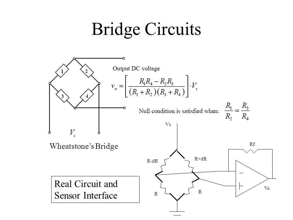 Bridge Circuits Wheatstones Bridge R-dR R+dR R Rf Vs R Vo Real Circuit and Sensor Interface