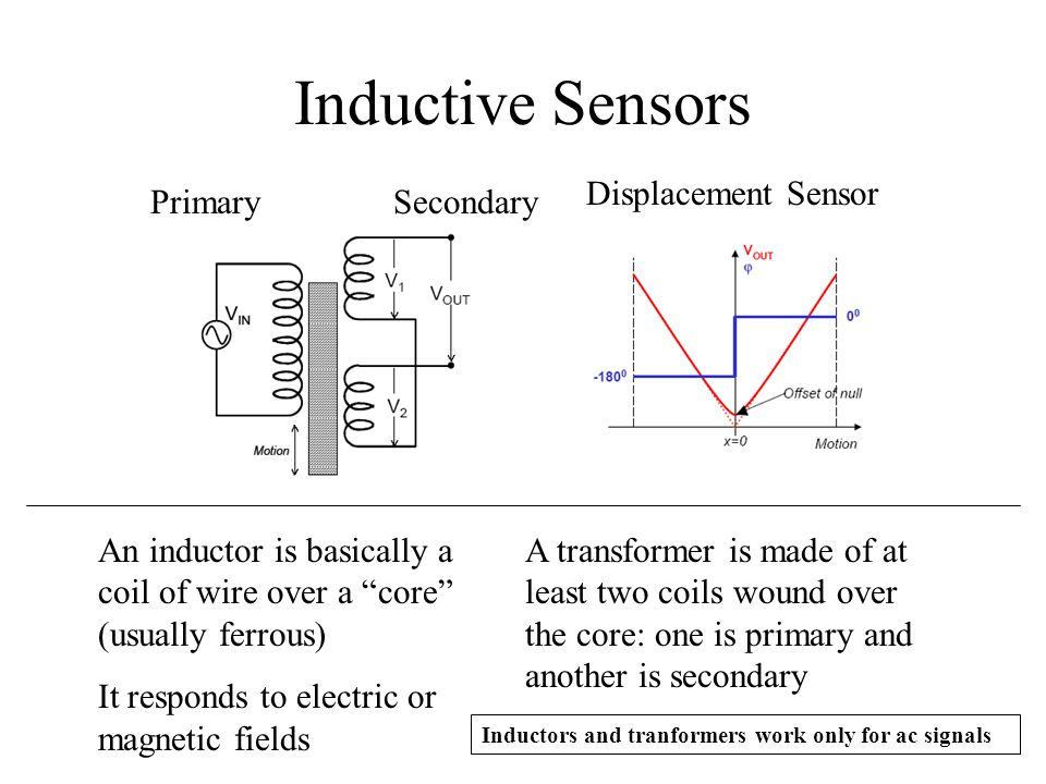 Inductive Sensors An inductor is basically a coil of wire over a core (usually ferrous) It responds to electric or magnetic fields A transformer is ma