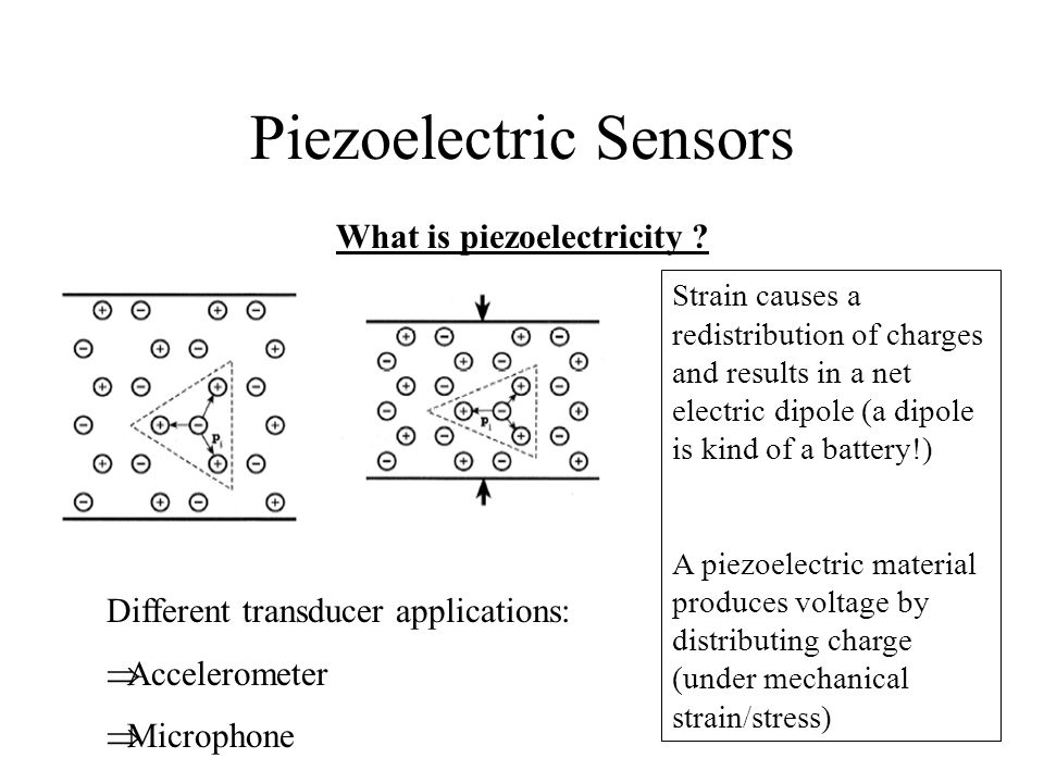 Piezoelectric Sensors What is piezoelectricity ? Strain causes a redistribution of charges and results in a net electric dipole (a dipole is kind of a