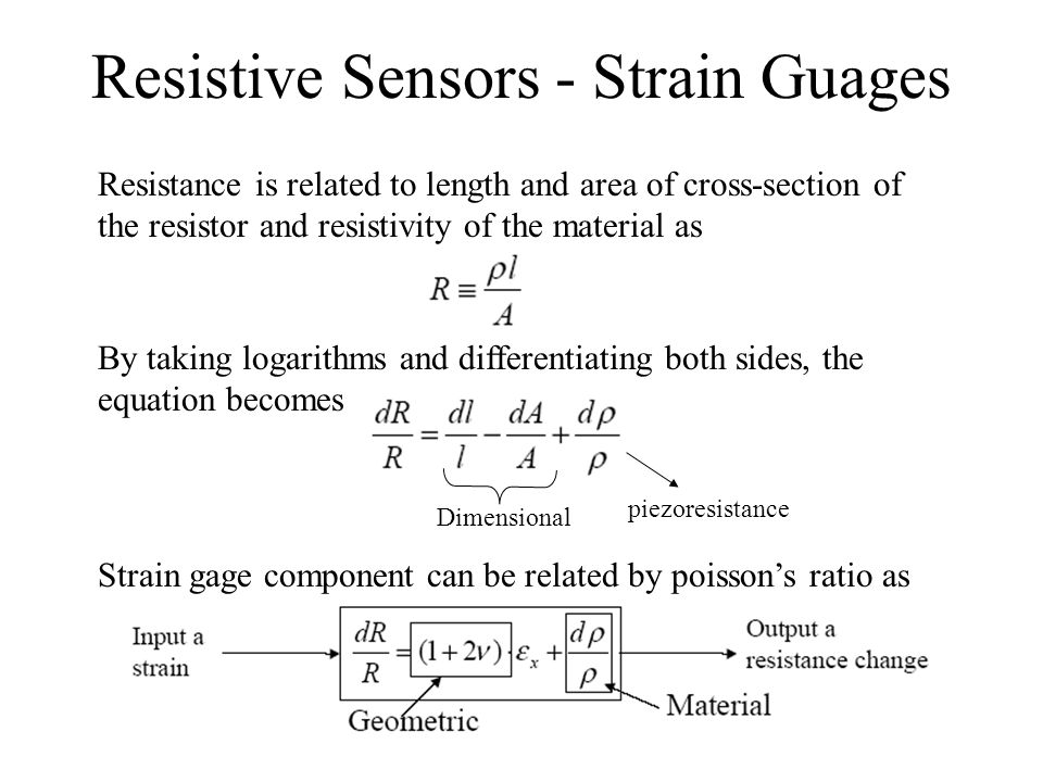 Resistive Sensors - Strain Guages Gage Factor of a strain gage G is a measure of sensitivity Think of this as a Transfer Function.