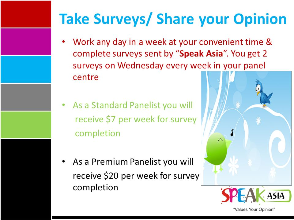 Take Surveys/ Share your Opinion Work any day in a week at your convenient time & complete surveys sent by Speak Asia.