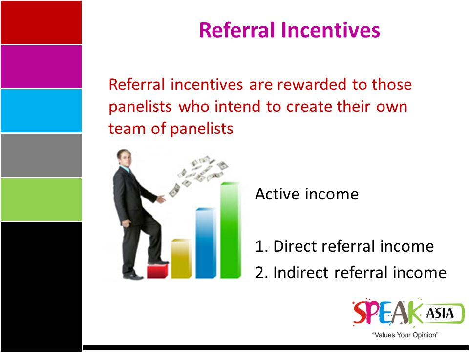 Referral Incentives Referral incentives are rewarded to those panelists who intend to create their own team of panelists Active income 1.