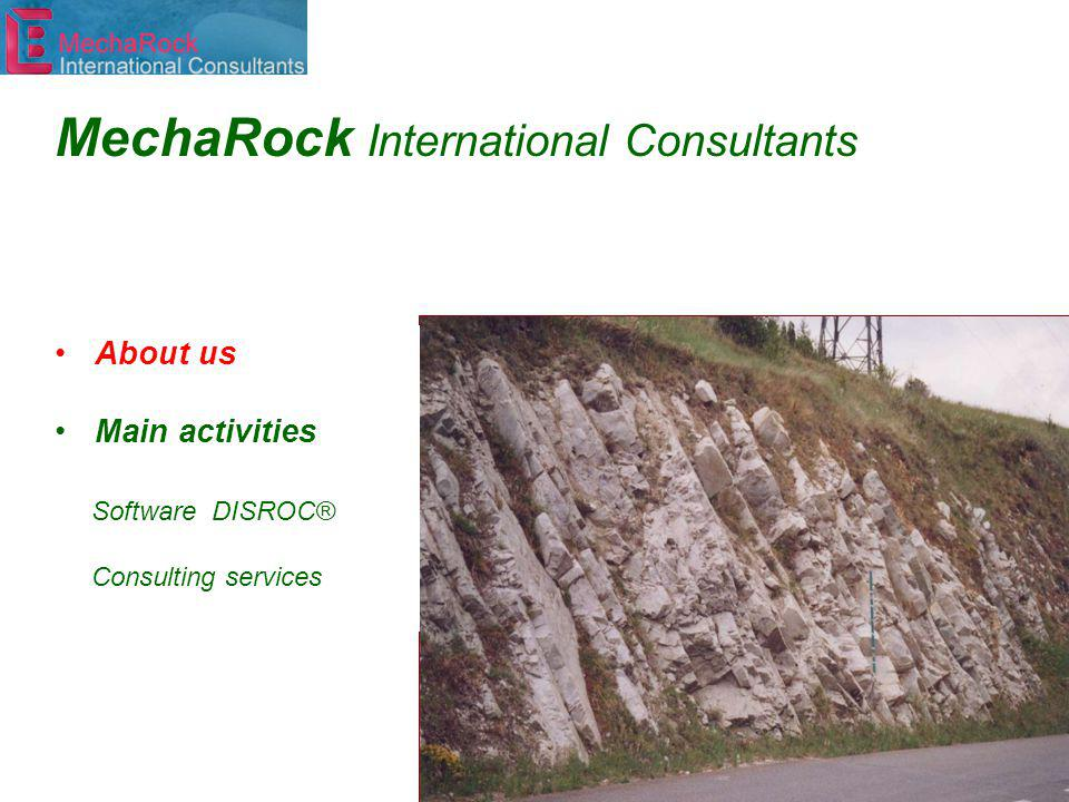 About us Main activities Software DISROC® Consulting services