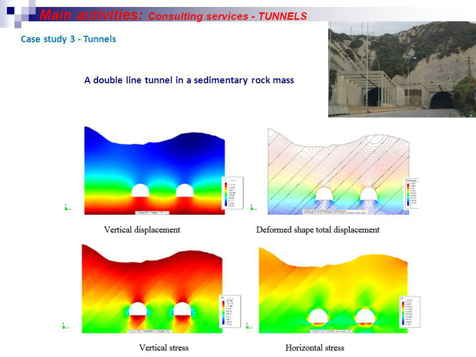 Case study 3 - Tunnels A double line tunnel in a sedimentary rock mass Main activities: Consulting services - TUNNELS