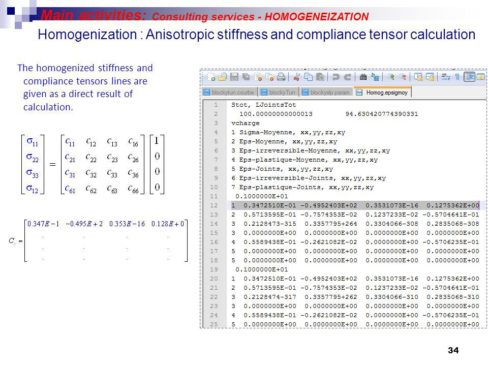 34 Homogenization : Anisotropic stiffness and compliance tensor calculation The homogenized stiffness and compliance tensors lines are given as a direct result of calculation.
