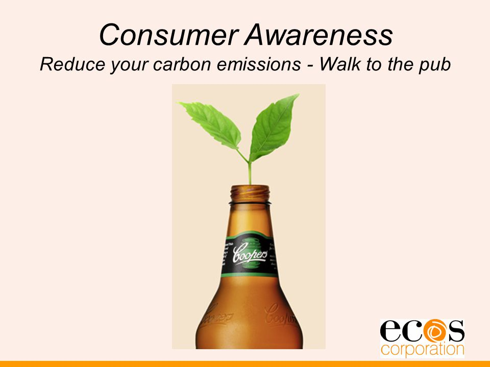 Consumer Awareness Reduce your carbon emissions - Walk to the pub