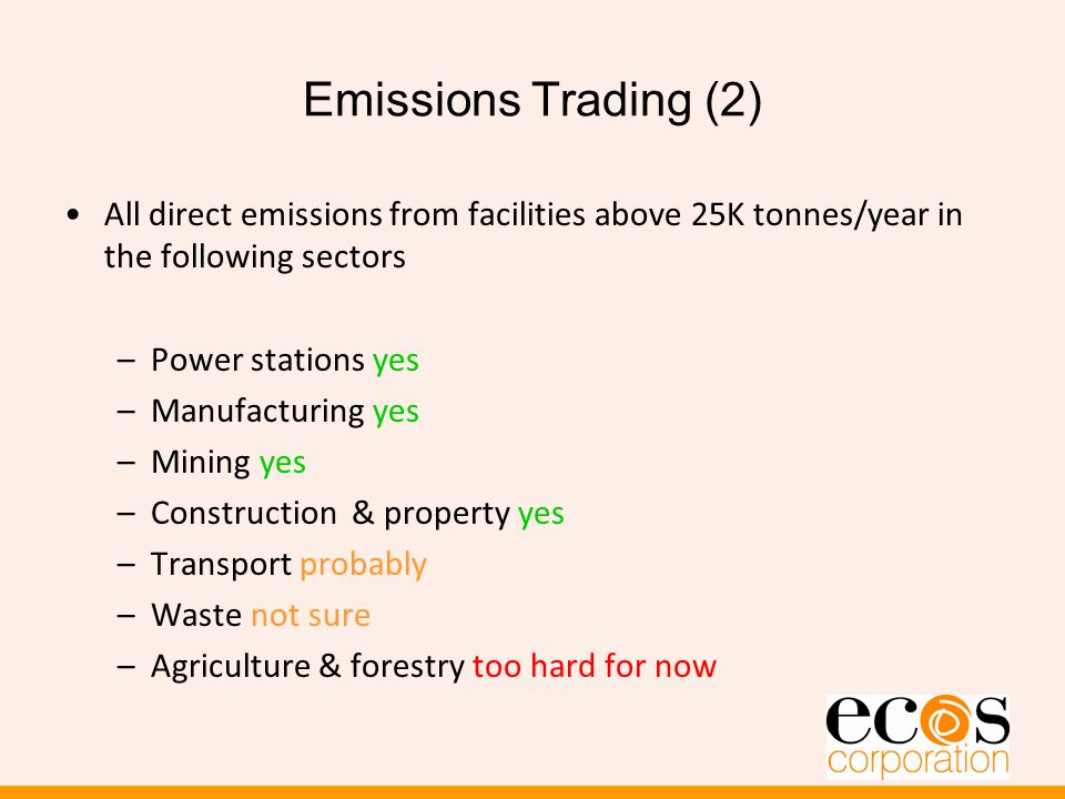Emissions Trading (2) All direct emissions from facilities above 25K tonnes/year in the following sectors –Power stations yes –Manufacturing yes –Mining yes –Construction & property yes –Transport probably –Waste not sure –Agriculture & forestry too hard for now