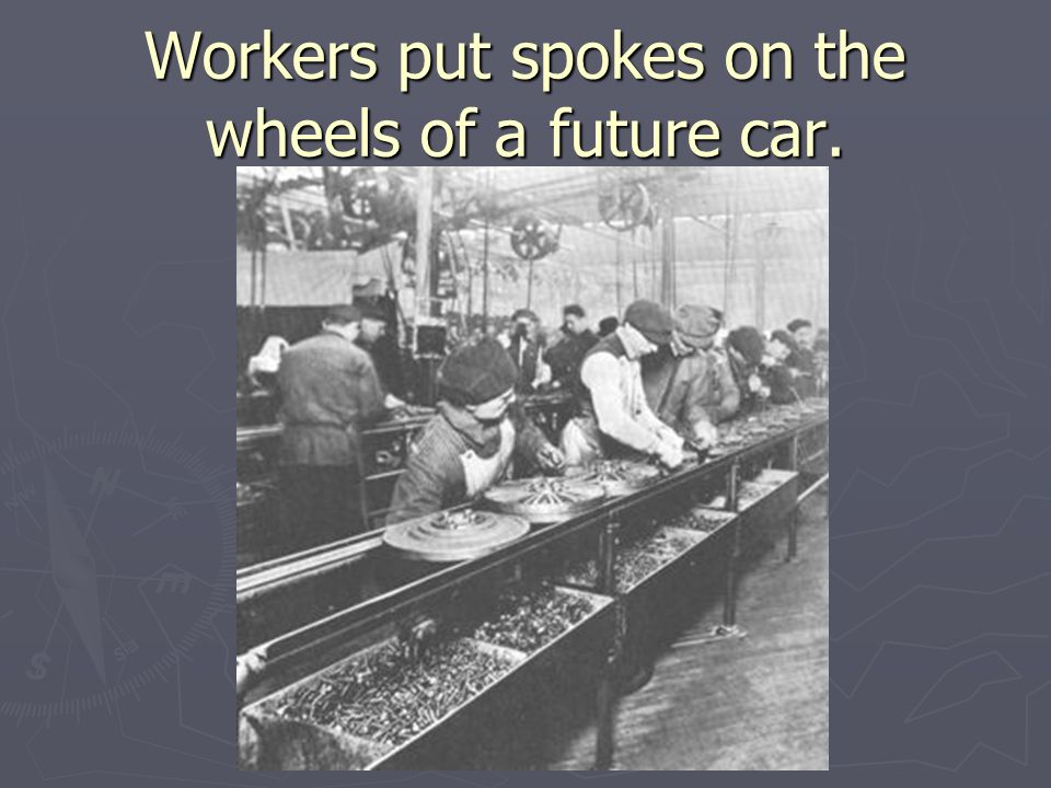 Workers put spokes on the wheels of a future car.