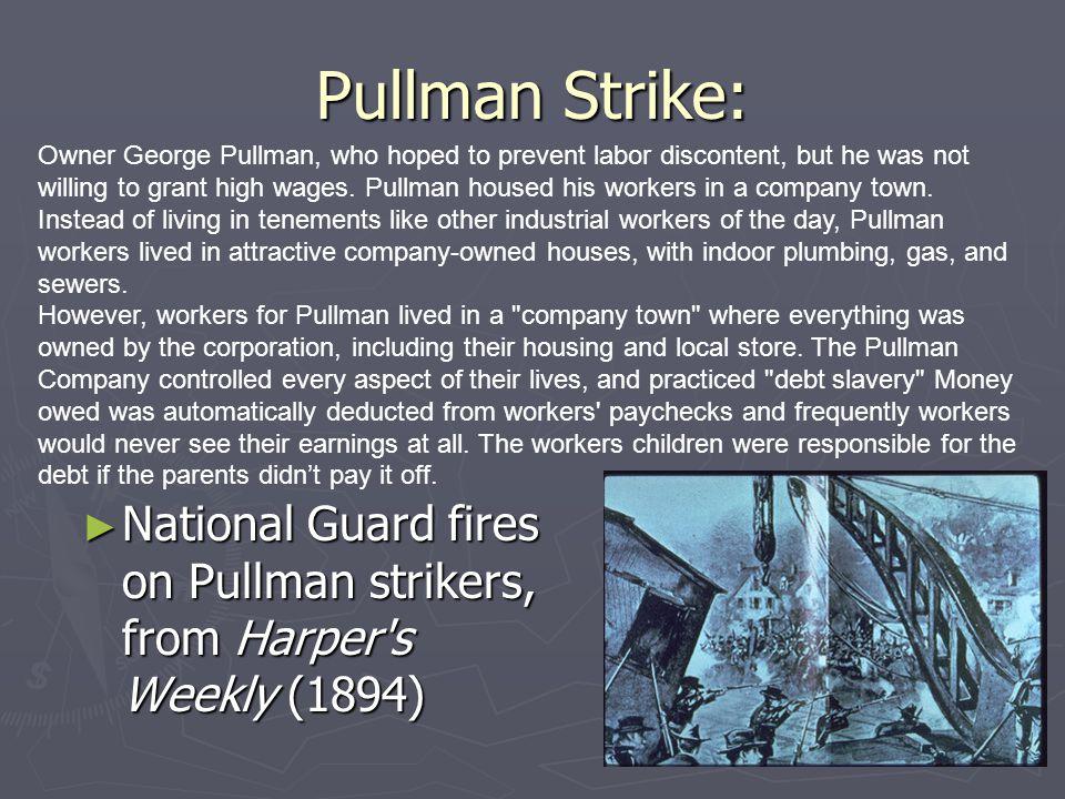 Pullman Strike: National Guard fires on Pullman strikers, from Harper's Weekly (1894) National Guard fires on Pullman strikers, from Harper's Weekly (
