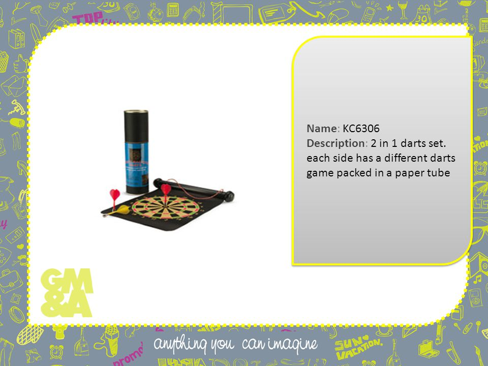 Name: KC6306 Description: 2 in 1 darts set. each side has a different darts game packed in a paper tube Name: KC6306 Description: 2 in 1 darts set. ea