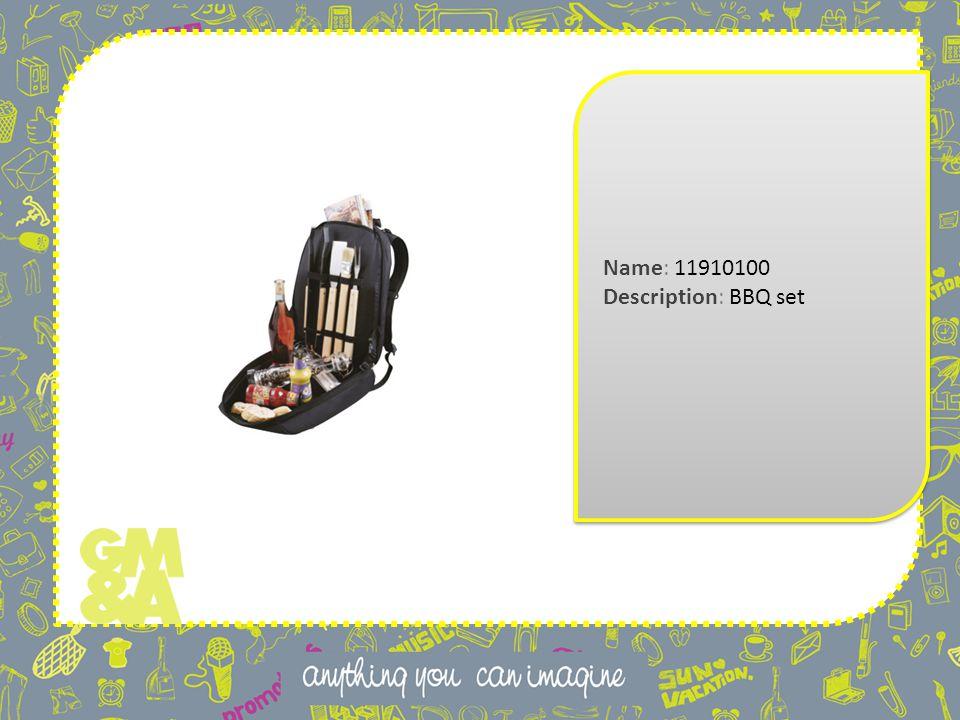 Name: 11910100 Description: BBQ set Name: 11910100 Description: BBQ set