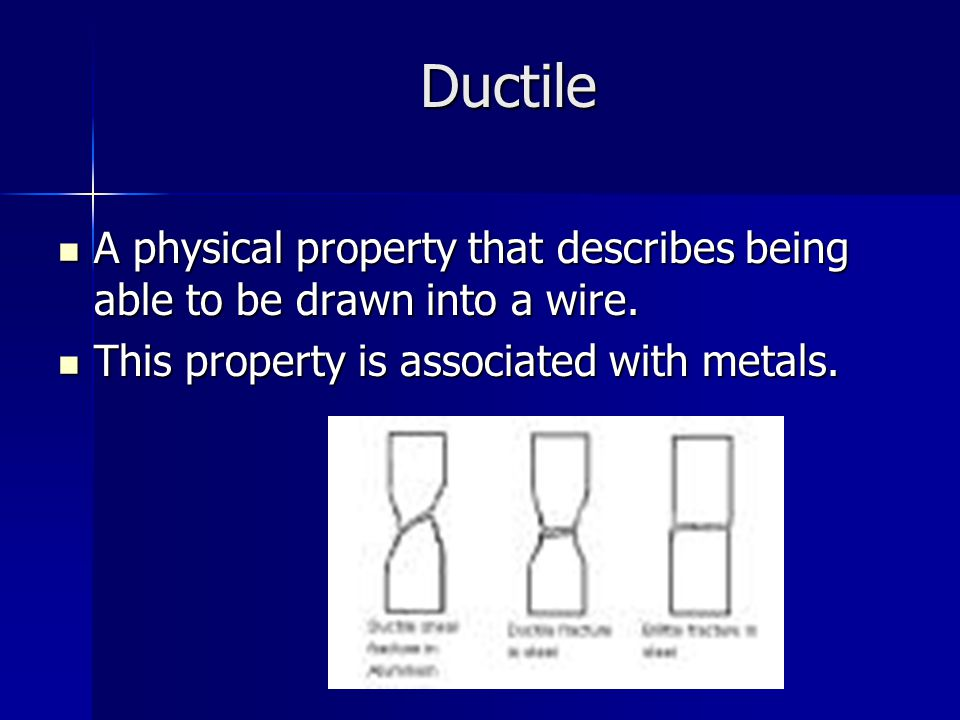 Ductile A physical property that describes being able to be drawn into a wire.