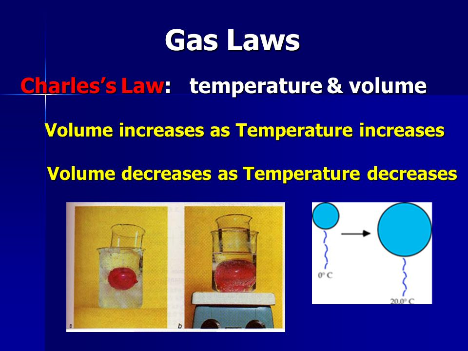 Gas Laws Charless Law: temperature & volume Volume increases as Temperature increases Volume increases as Temperature increases Volume decreases as Temperature decreases Volume decreases as Temperature decreases