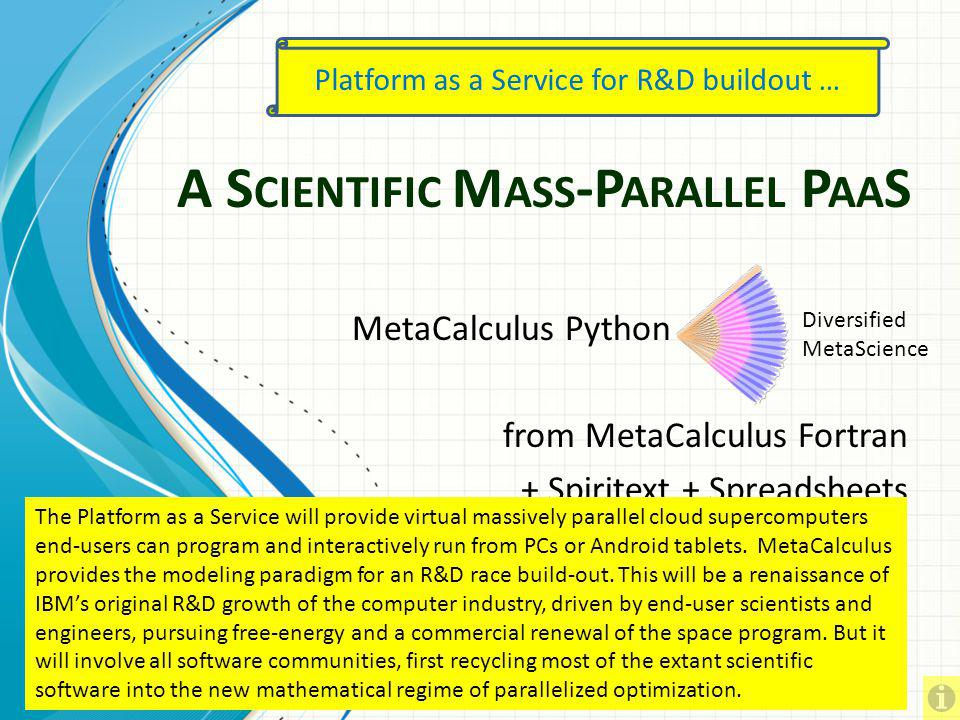 Lifting Platforms Beyond Calculus for Total Application Optimization MetaCalculus, LLC Choreographing a Cloud Revolution Todays mainstream programming